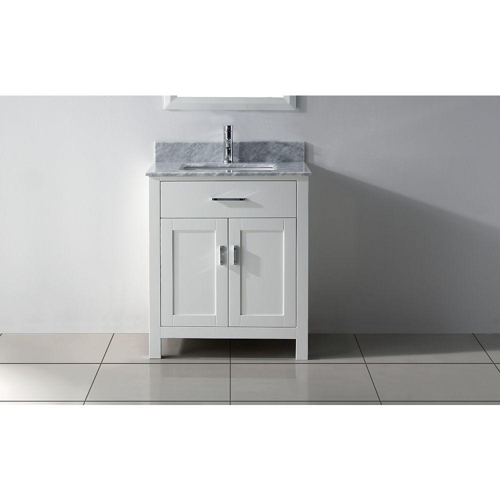 Art Bathe Kalize 30-inch W 1-Drawer 2-Door Vanity in White With Marble Top in Grey