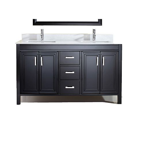 Corniche 60-inch W 3-Drawer 4-Door Vanity in Black With Artificial Stone Top in Off-White, 2 Basins