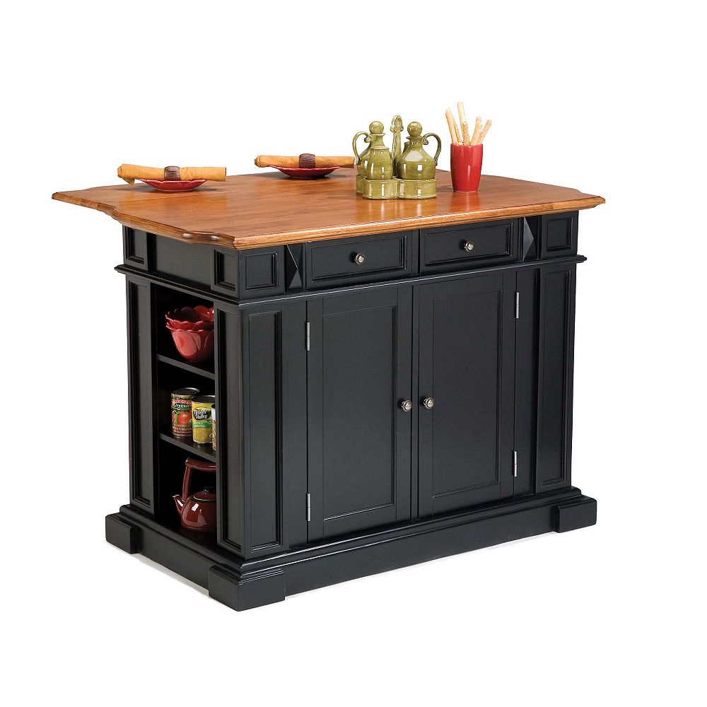 Kitchen Island with Drop Leaf in Black and Distressed Oak