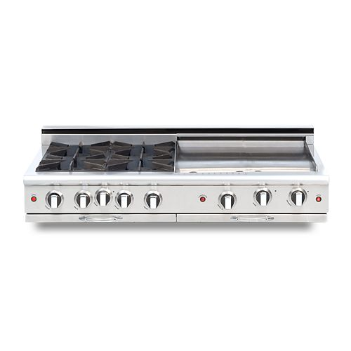Culinarian Series: 48 Inch 4 Open Top Burners Range Top With 24 Inch Thermo Griddle NG