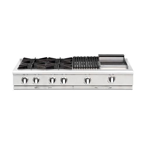 Culinarian Series: 48 Inch 4 Open Top Burners Range Top With Broil Burner & Thermo Griddle NG