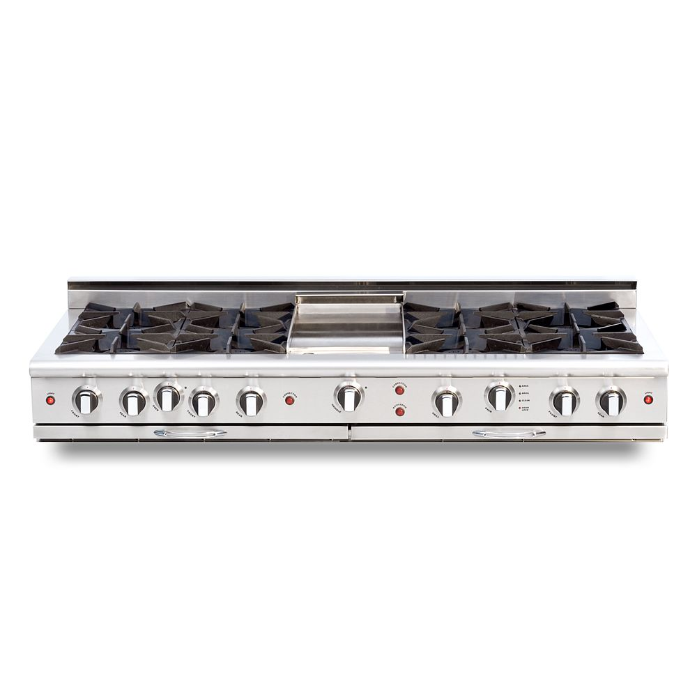 """Capital Culinarian Series: 60"""" 8 Open Top Burners Range Top with Thermo Griddle NG"""