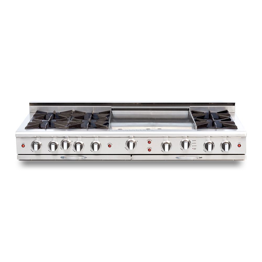 """Capital Culinarian Series: 60"""" 6 Open Top Burners Range Top with 24"""" Thermo Griddle NG"""