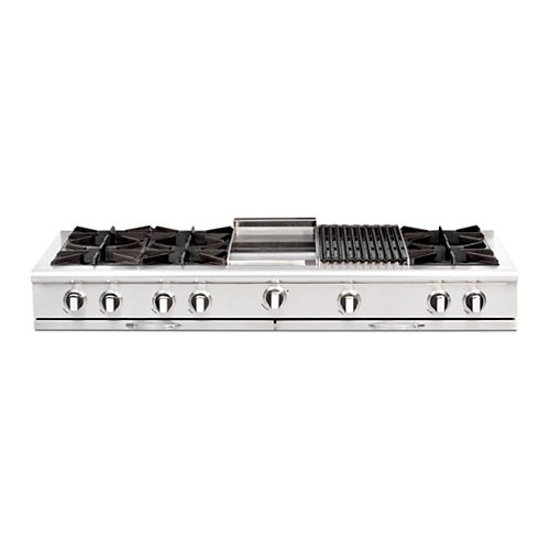 """Culinarian Series: 60"""" 6 Open Top Burners Range Top with 12""""Broil Burner & 12"""" Thermo Griddle NG"""
