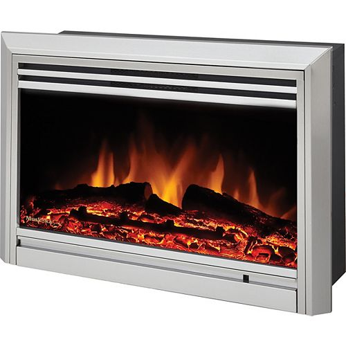 Electric Fireplace Insert, Stainless Steel, Widescreen 25-inch