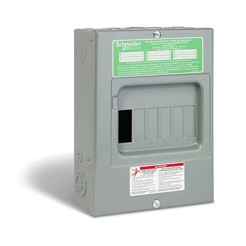 HomeLine Centre de distribution de panneau auxiliaire HomeLine de 100A avec un de 6 espaces et 12 circuits
