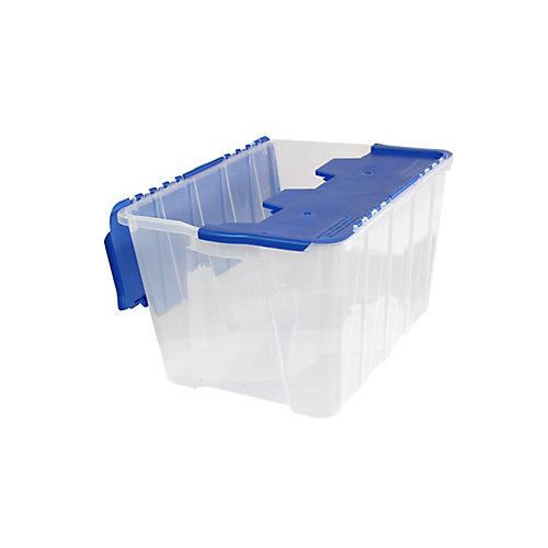 Storage Tote Flip-Top - 49L - Clear/Pearl Blue