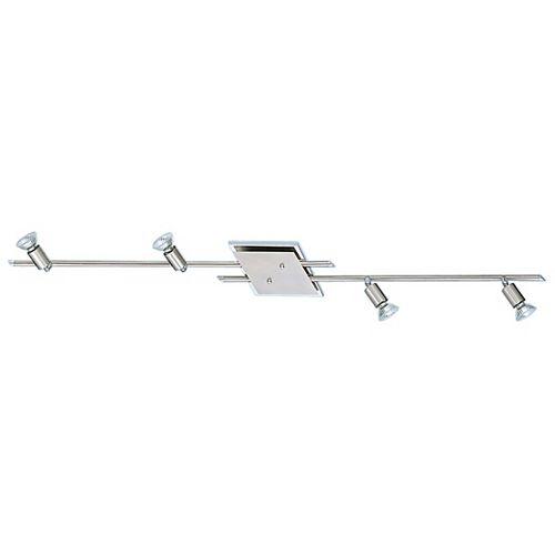 Pipe Rail 4 Lumières, Fini Nickel Mat avec Accents Chromés