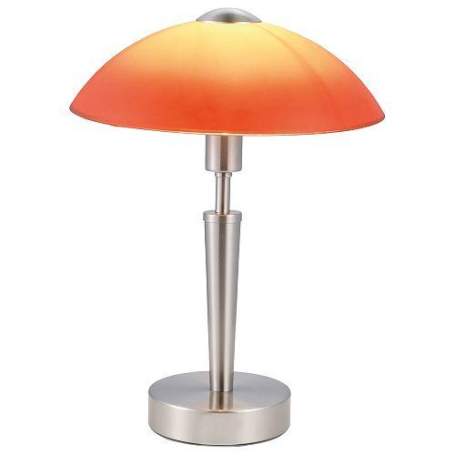 Solo 1 Lampe de Table, Nickel Mat avec Verres Rouges & Oranges