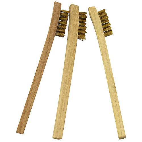 Ensemble De 3 Mini-Brosses en laiton avec manche de bois