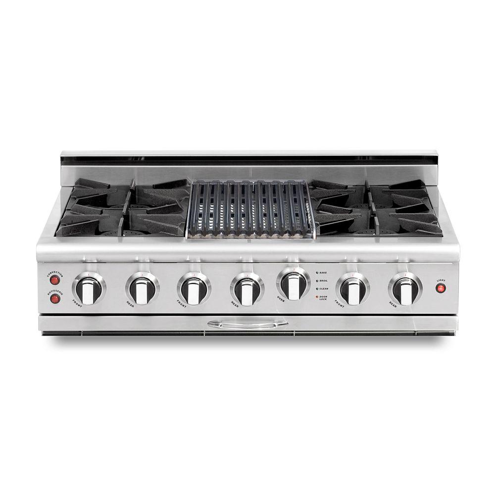 Capital Culinarian Series: 36 Inch 4 Open Top Burners Range Top with Broil Burner LP