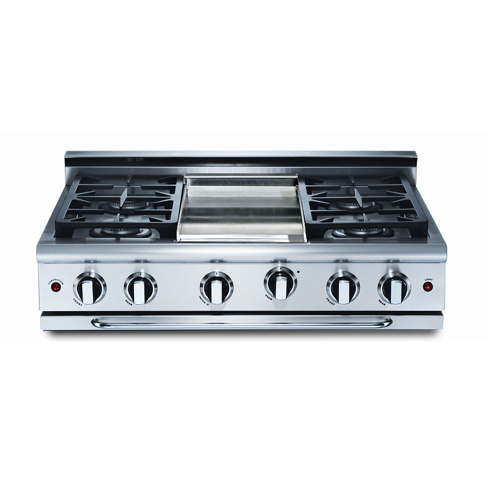 Capital Precision Series: 36 Inch 4 Burners Range Top With Thermo- Griddle, NG