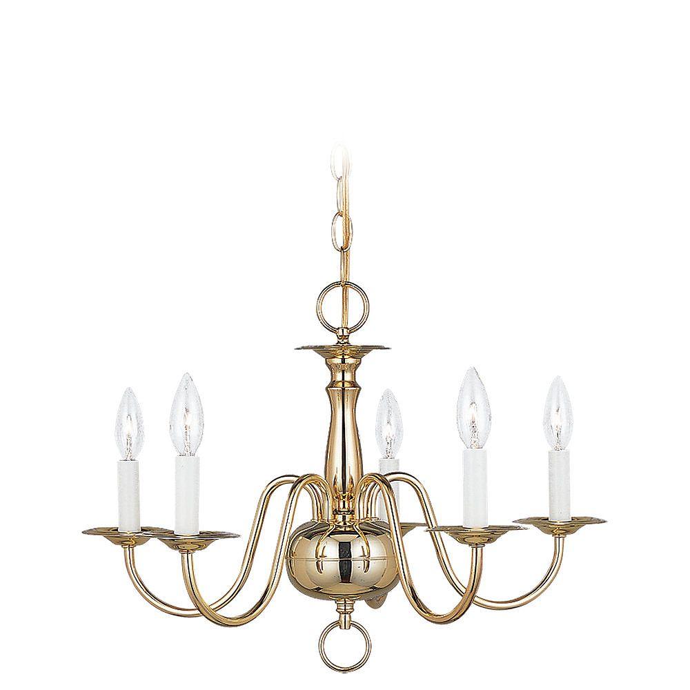 Sea Gull Lighting 5-Light Polished Brass Chandelier