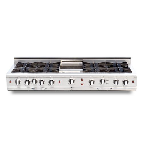 Culinarian Series: 60 Inch 8 Open Top Burners Range Top with Thermo Griddle LP