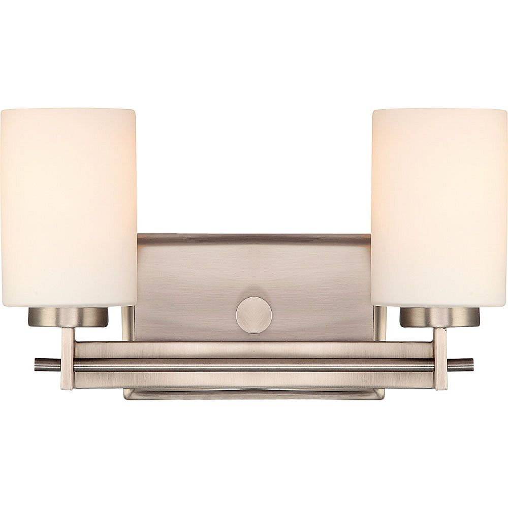 Filament Design Monroe 2-Light Antique Nickel Vanity with an Opal Etched Shade