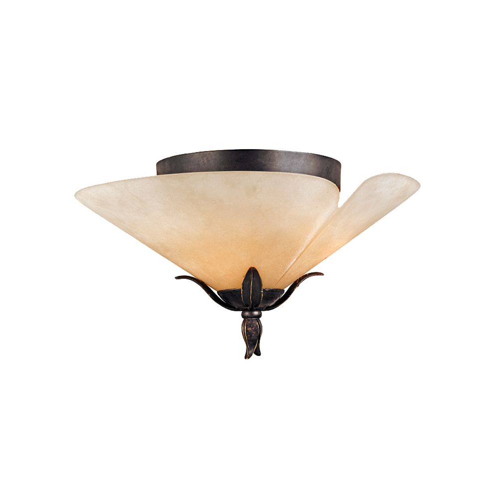 Filament Design Monroe 3 Light Imperial Bronze Incandescent Flush Mount with an Amber Scavo Shade