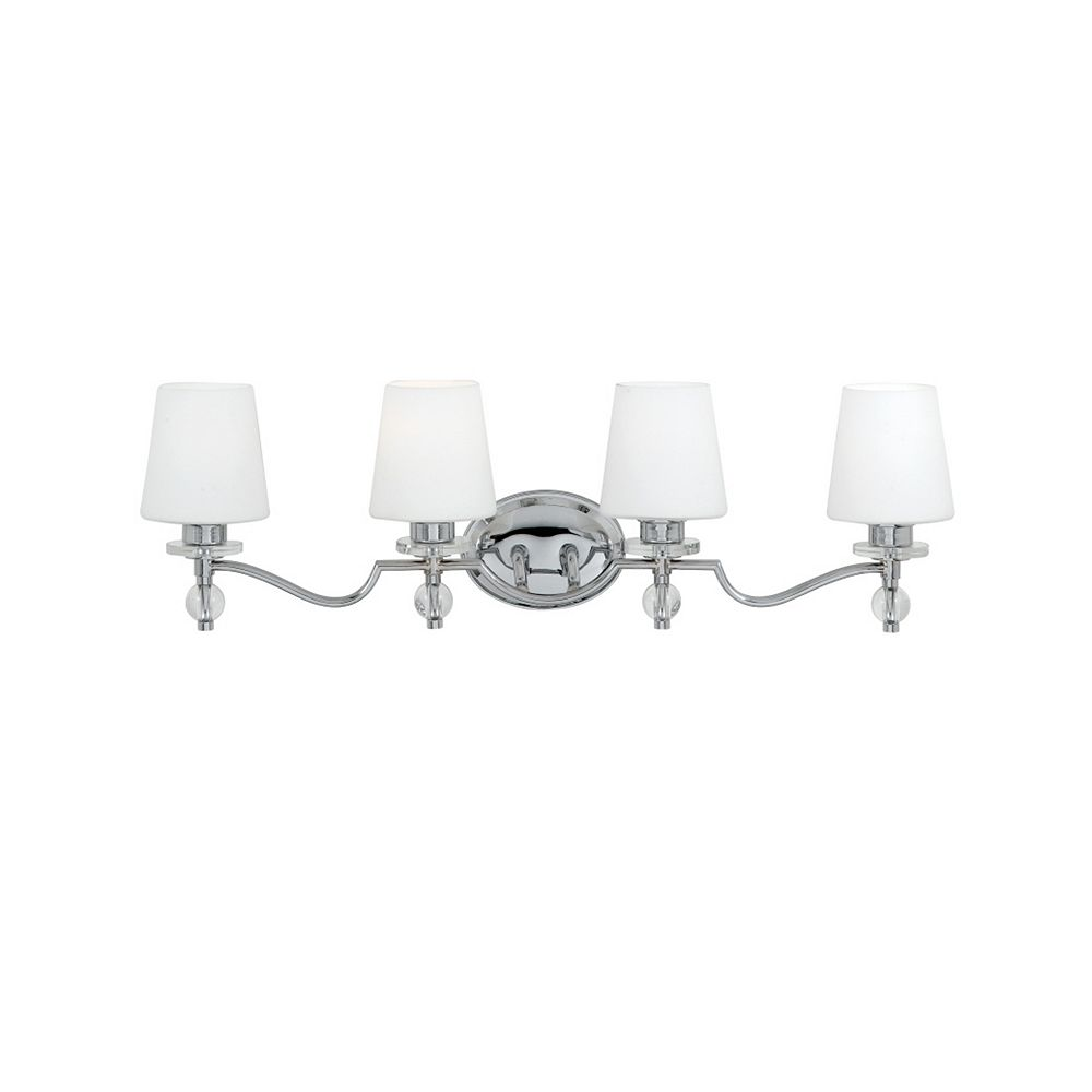 Filament Design Monroe 4-Light Polished Chrome Vanity with a White Etched Shade