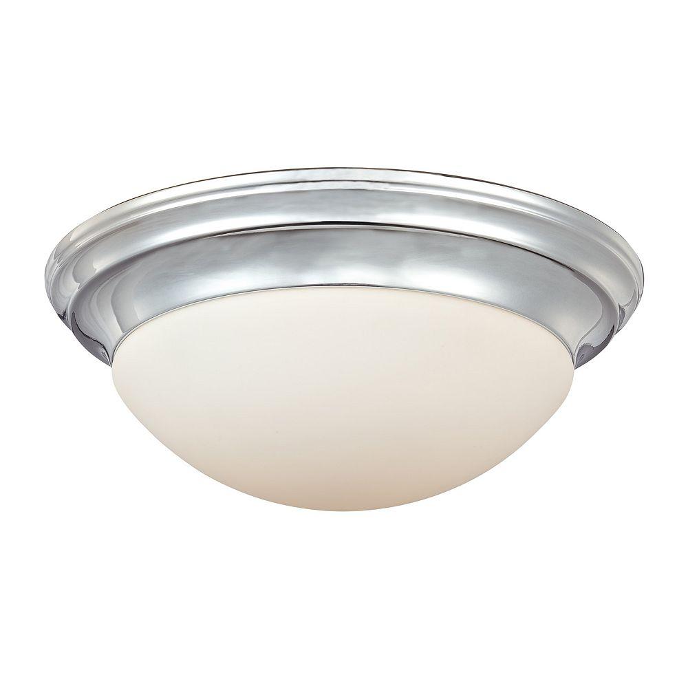 Filament Design Monroe 3 Light Polished Chrome Incandescent Flush Mount with a White Alabaster Shade