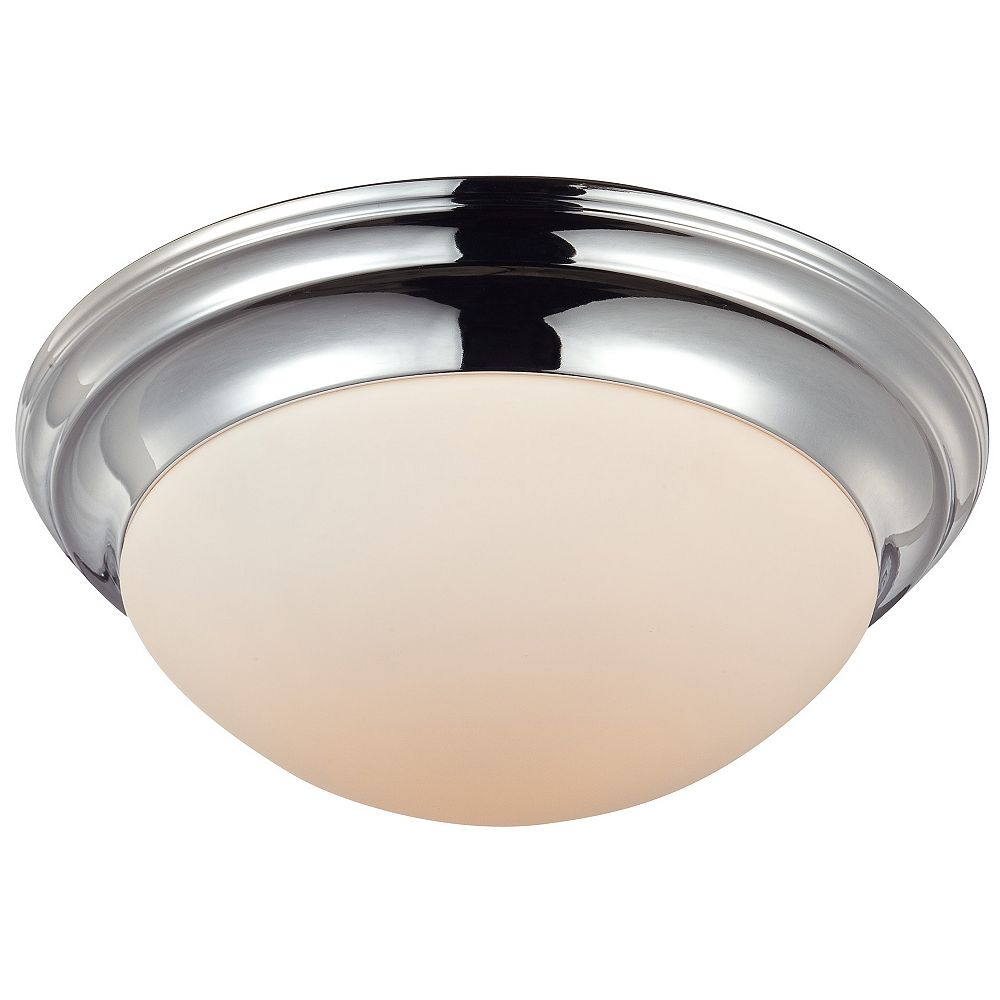 Filament Design Monroe 2 Light Polished Chrome Incandescent Flush Mount with a White Alabaster Shade