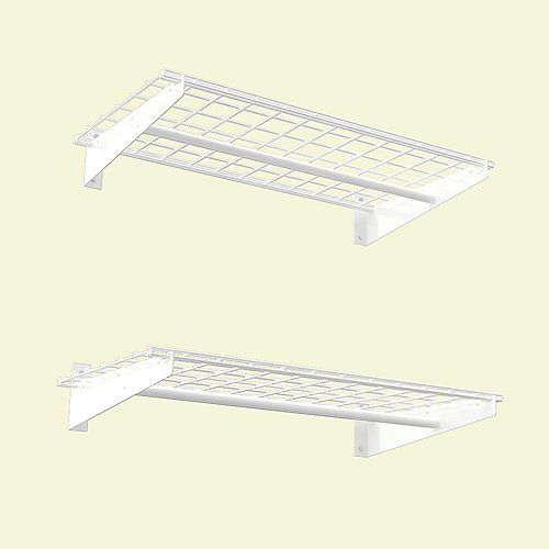 Hyloft 2-Shelf 36-inch W Wire Garage Wall Storage System in White