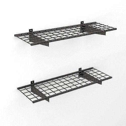 Hyloft 45-inch x 15-inch 150 lb. Capacity Wire Floating Shelf in Black Hammertone (2-Pack)