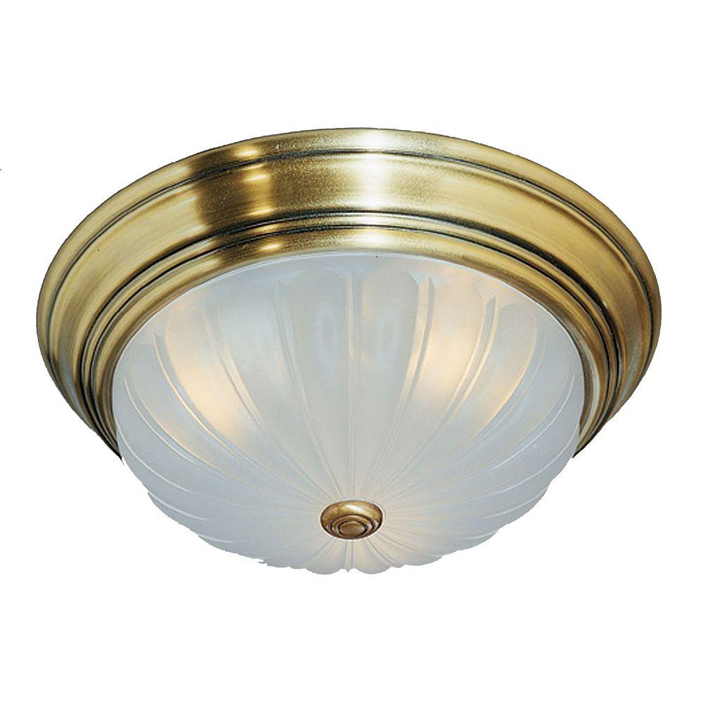 Filament Design Monroe 1 Light Antique Brass Incandescent Flush Mount with an Etched Melon Shade