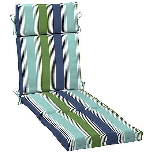 Outdoor Chaise Cushion in Dawson Stripe Marine