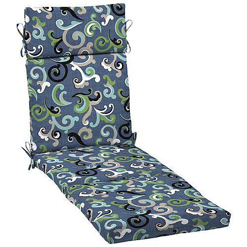 Outdoor Chaise Cushion in Vienna Scroll Marine