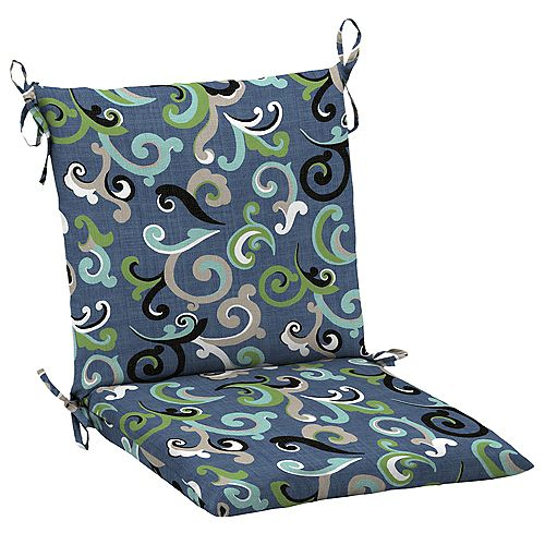 Mid Back Outdoor Chair Cushion in Vienna Scroll Marine