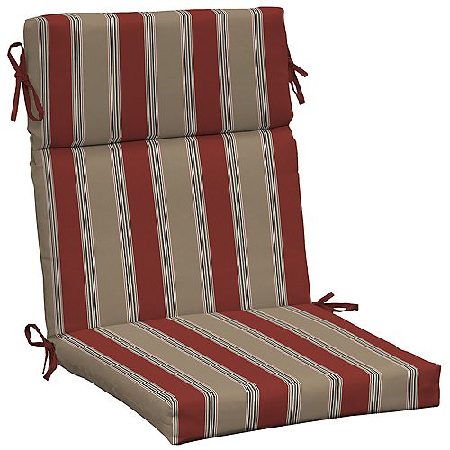 High Back Outdoor Chair Cushion in Chili Stripe