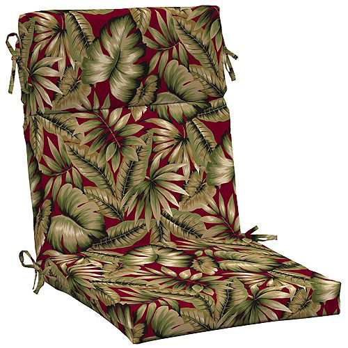 High Back Outdoor Chair Cushion in Chili Tropical