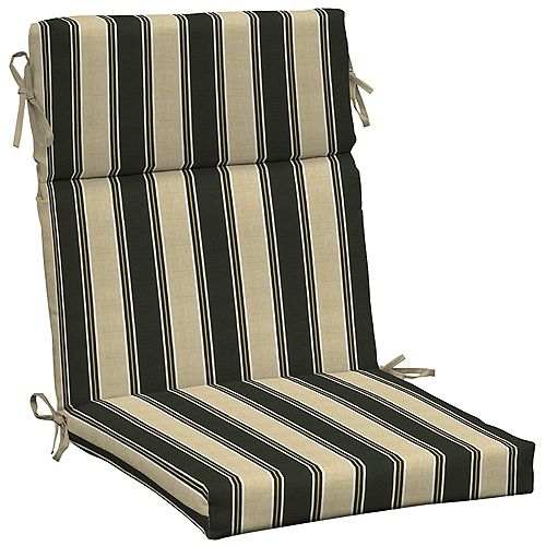 High Back Outdoor Chair Cushion in Twilight Stripe