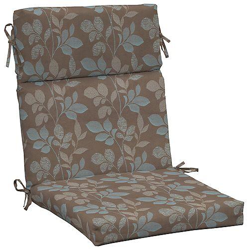High Back Outdoor Chair Cushion in Blush Botanical