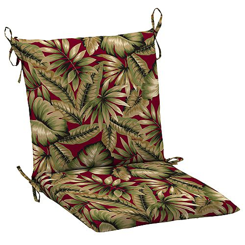 Outdoor Mid Back Chair Cushion in Chili Tropical
