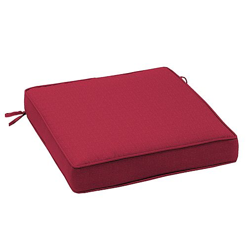 Outdoor Seat Cushion in Chili Solid Red