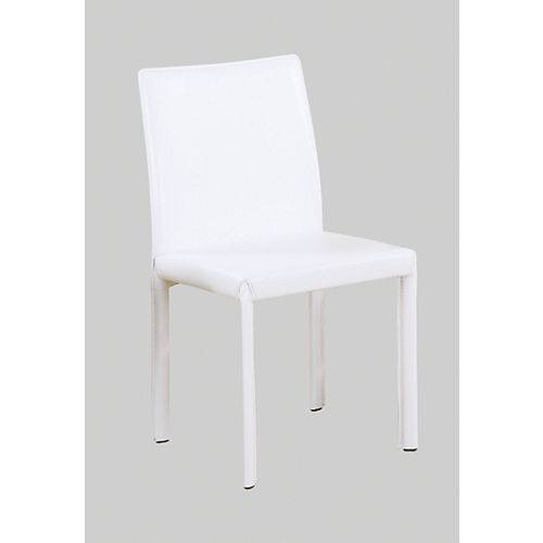 Leather-Look Modern Side Chairs, Cream - (Set of 4)