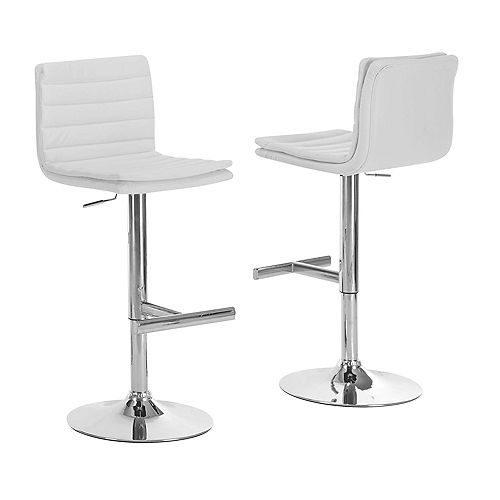 Leather Metal Chrome Contemporary Full Back Armless Bar Stool with White Faux Leather Seat (Set of 2)