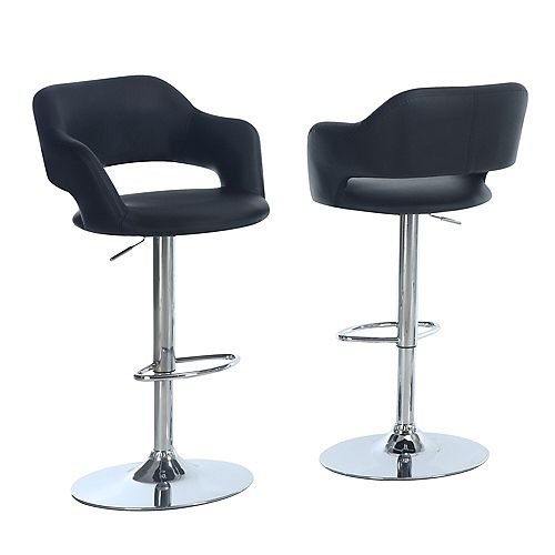Hydraulic Lift Chrome Bar Stool with Black Upholstery