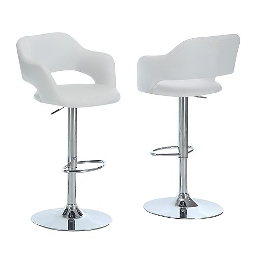Barstool with Hydraulic Lift in White & Chrome