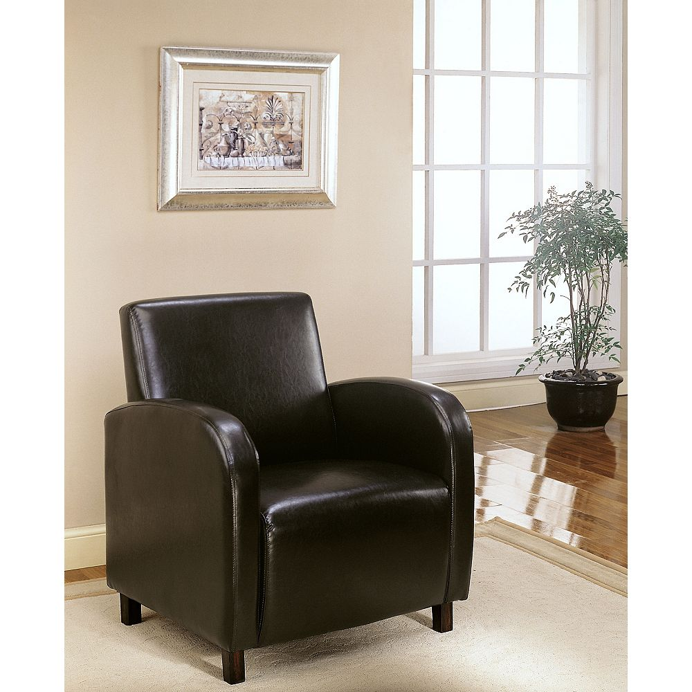 Monarch Specialties Leather-Look Accent Chair in Dark Brown