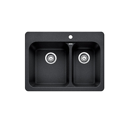 VISION 1.5, Offset Double Bowl Drop-in Kitchen Sink, SILGRANIT Anthracite