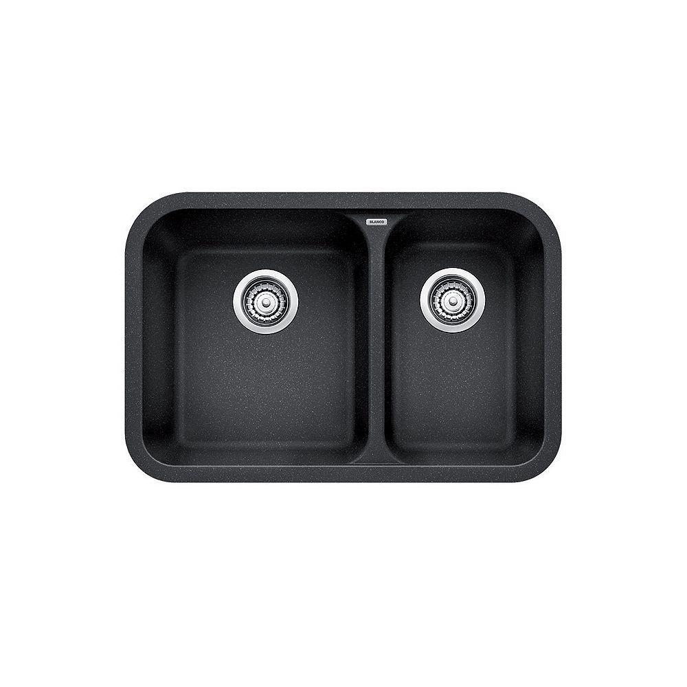 Blanco Evier De Cuisine A Montage Sous Plan Et A Deux Cuves Vision U 1 5 Silgranit Anthra Home Depot Canada