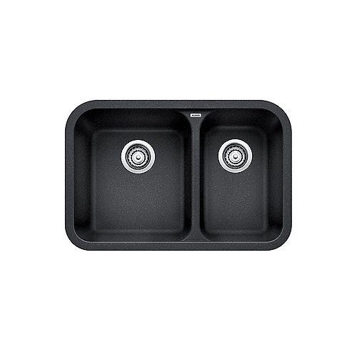 VISION U 1.5, Offset Double Bowl Undermount Kitchen Sink, SILGRANIT Anthracite