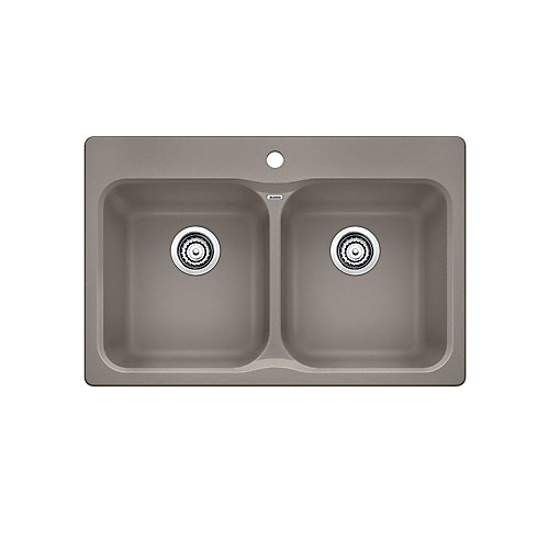 VISION 210, Equal Double Bowl Drop-in Kitchen Sink, SILGRANIT Truffle