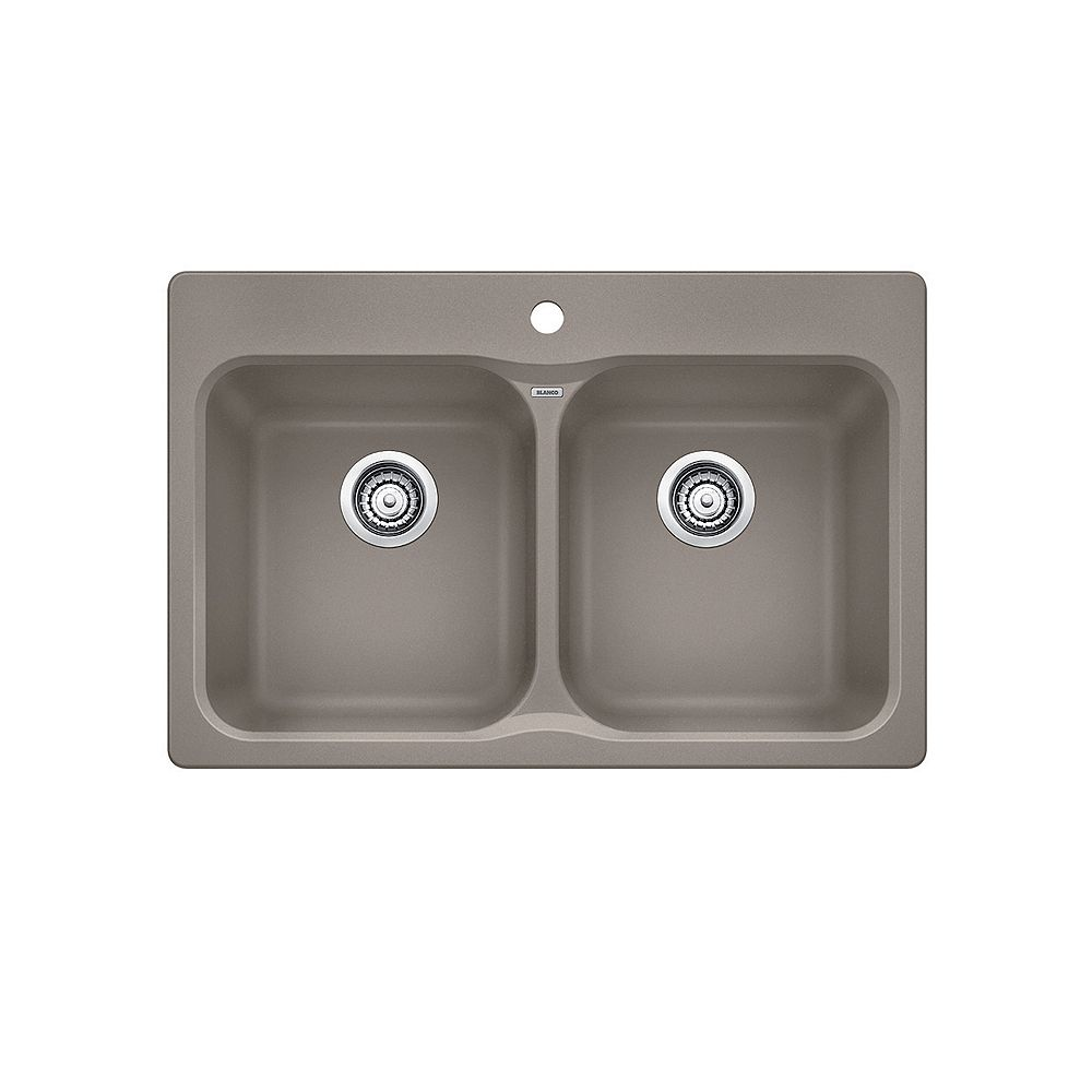 Blanco VISION 210, Equal Double Bowl Drop-in Kitchen Sink, SILGRANIT Truffle
