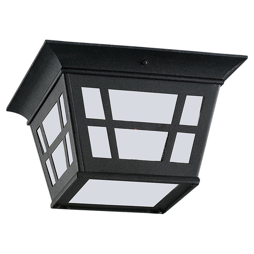 Sea Gull Lighting 1 Light Black Fluorescent Outdoor Ceiling Fixture
