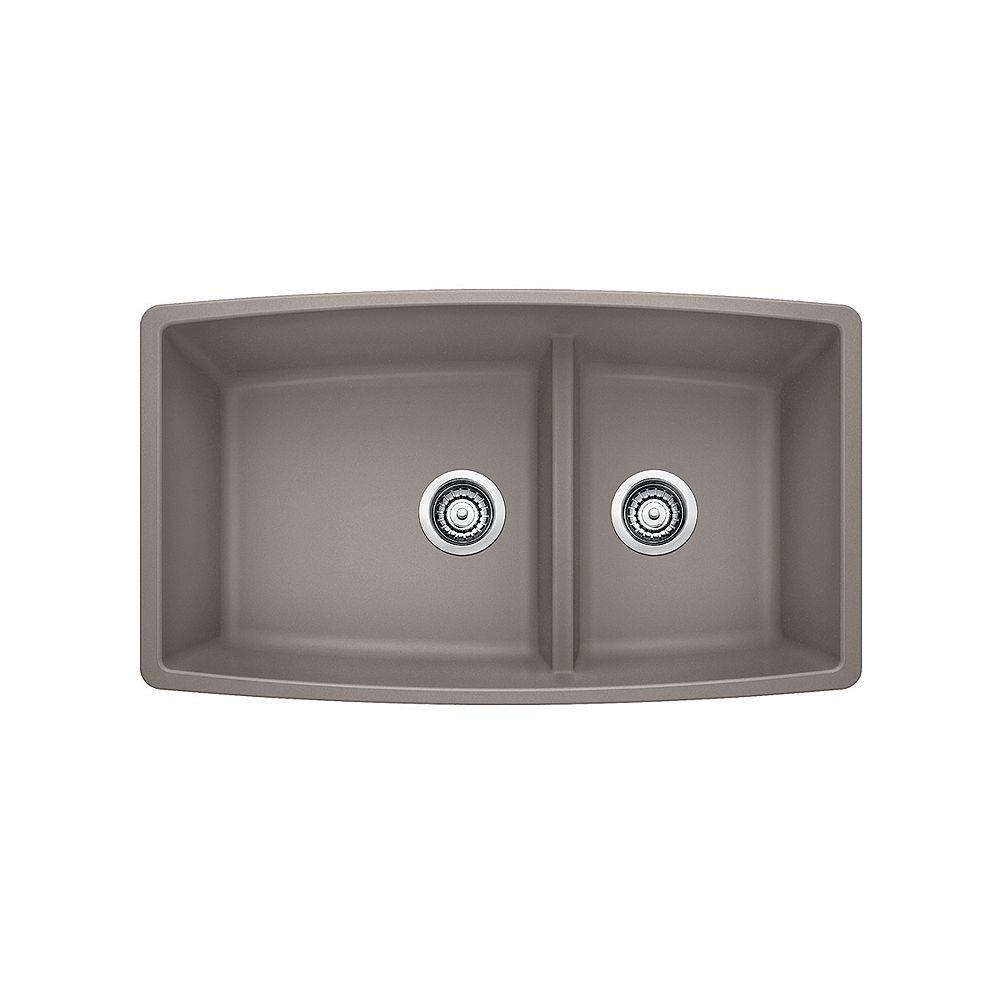 Blanco PERFORMA U 1.75 LOW DIVIDE, Offset Double Bowl Undermount Kitchen Sink, SILGRANIT Truffle
