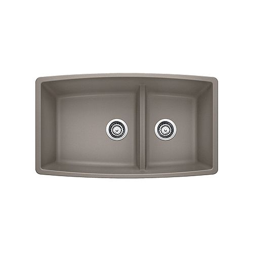 Blanco PERFORMA U 1.75 LOW DIVIDE, Offset Double Bowl Undermount Kitchen Sink, SILGRANIT Truffle