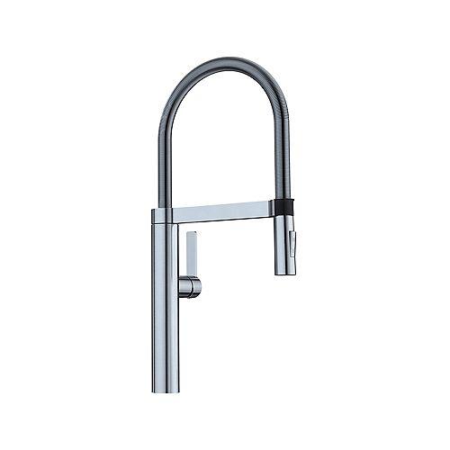 BLANCOCULINA, Semi-professional Pull-down Kitchen Faucet, 2.2 GPM (Dual-spray), Classic Steel