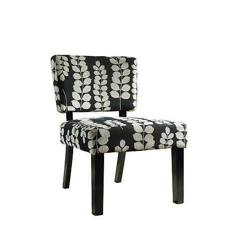 Black & Cream Floral Oliver Accent Chair